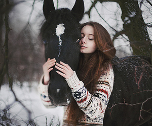 horse, girl, and winter image