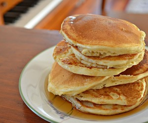 food, syrup, and pancakes image