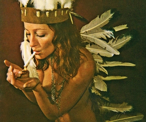 cigarette, feathers, and woman image