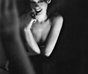 Anne Hathaway, art, and black and white image
