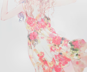 anime, dress, and flowers image