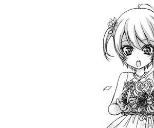 anime, female, and flowers image