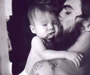 baby, beard, and black and white image