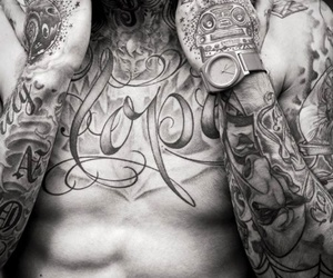 black and white, guy, and ink image