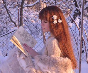 beautiful, redhair, and snow image
