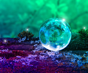 crystal ball, green, and blue image
