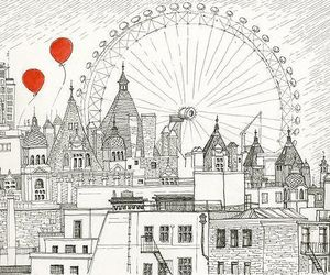 london, draw, and red image