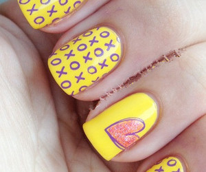 nails, yellow, and heart image