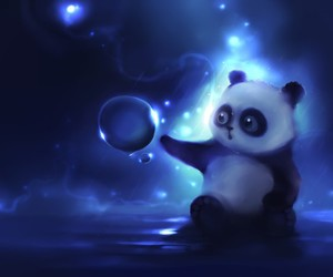 panda, blue, and bubbles image