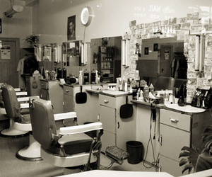 barber shop, black and white, and salon image