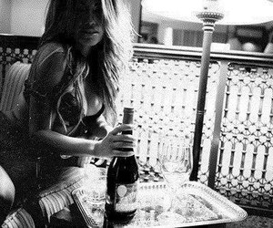 drink, girl, and white and black image