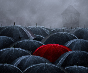 umbrella, red, and rain image