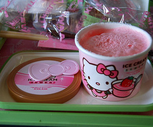 hello kitty, ice cream, and pink image
