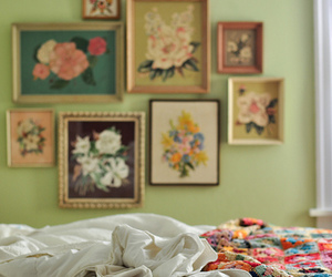 bed, flowers, and pictures image