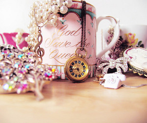 pink, girly, and cup image