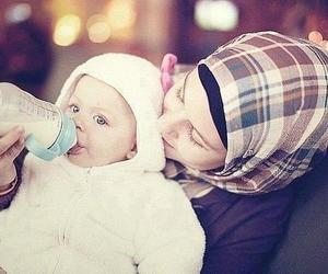 baby, hijab, and mom image
