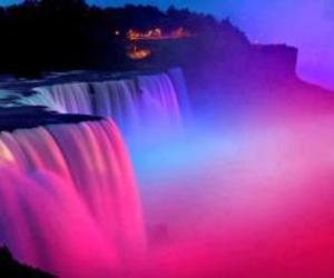 waterfall, pink, and colors image