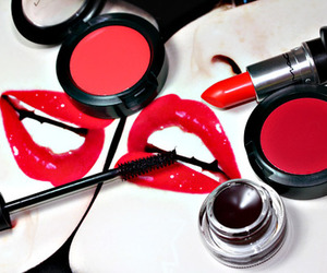 red, makeup, and lipstick image