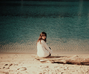 girl, beach, and vintage image