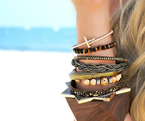 bracelet, beach, and hair image