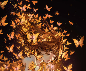 girl, anime, and butterfly image