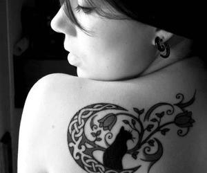 cat, moon, and tatto image