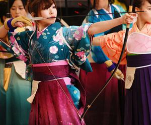 japan, archery, and kimono image
