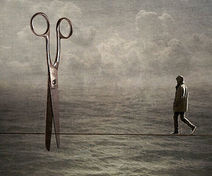 guy, scissors, and tightrope image