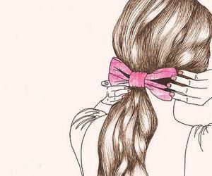 hair, drawing, and pink image