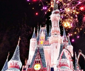 castle, fireworks, and night image