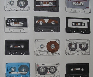 art, blue, and cassette image