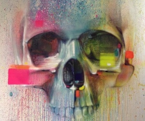 skull, painting, and art image