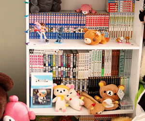 bookshelf, shelf, and mangas image