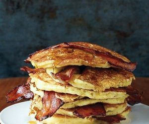 food, pancakes, and bacon image