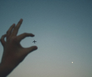 sky, airplane, and hand image