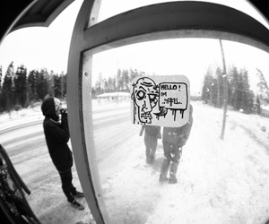 black and white, fish eye, and cool image