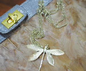 bag, feather, and necklace image