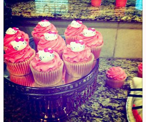 cupcake, pink, and hello kitty image