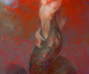 mermaid, art, and red hair image