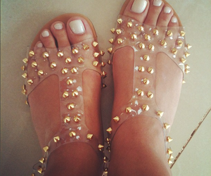 feet, girl, and gold image