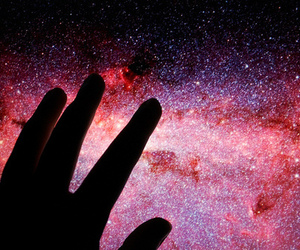 hand, stars, and space image