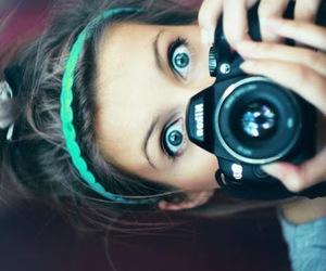 girl, camera, and eyes image
