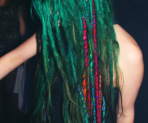 hair, dreads, and green image