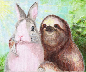 bunny, sloth, and funny image