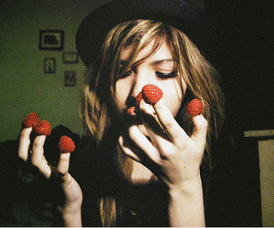girl, strawberry, and hat image