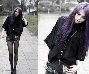 purple hair, black, and hair image