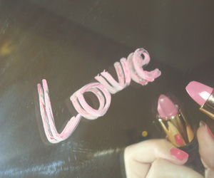 love, pink, and lipstick image
