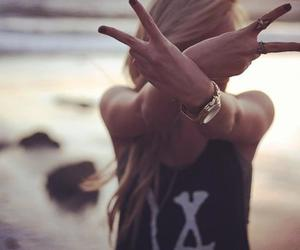 girl, beach, and peace image