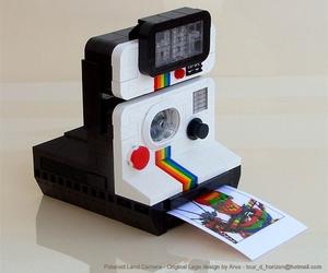 polaroid, camera, and lego image