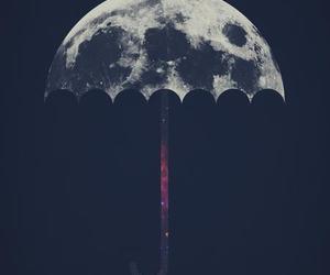 moon, umbrella, and art image